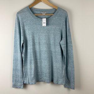 J. Crew Cotton Teddie sweater Blue Marled Large
